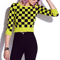 Checkered Cropped Sweater