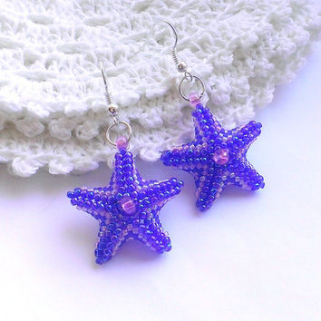 Star Shaped Earrings-Seed Bead Stars-Beadwoven Earrings-Small Earrings-Sea Star Earrings-Beaded Earrings-Violet,Lilac Earrings