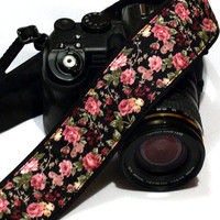 Roses Camera Strap, Floral Camera Strap, Flowers Camera Strap, Nikon, Canon Camera Strap, Women Accessories
