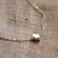 Wish - white grey star sterling silver necklace - delicate simple jewelry women