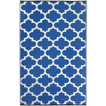 tangier blue outdoor rug