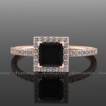 Black Diamond Princess Cut Engagement Ring, 14K Rose Gold Natural White and Black Diamond Halo Ring, Wedding Ring RE57.5BK