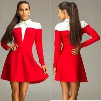 Streetstyle  Casual Red Patchwork White Pleated Turndown Collar Long Sleeve Mini Dress