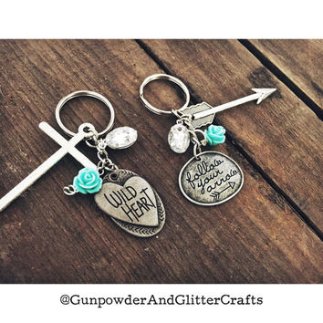 Country Bling Keychain with Teal Flowers