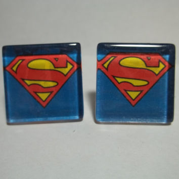 Superman Cufflinks by TheCraftyGeek86 on Etsy