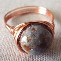 Indian Agate Ring - Copper Ring - Grey Stone Ring - Funky Ring - Gifts Under 15 - Gift for Best Friend - Wire Wrapped Jewelry Handmade