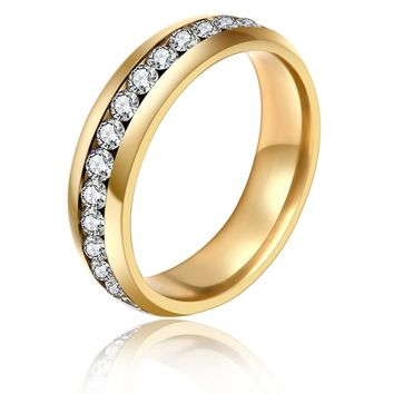 1 Piece! Stainless Steel Rings for Men Women Gold Color Wedding Bands Engagement Anniversary Lovers his and hers promise