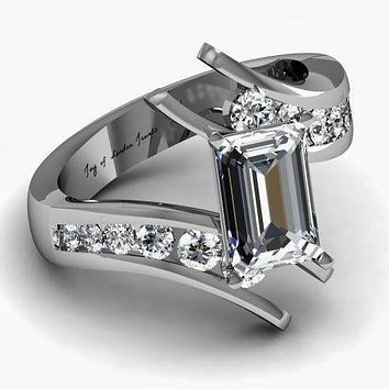 A Museum Perfect 2CT Emerald Cut Russian Lab Diamond Engagement Promise Anniversary Wedding Ring
