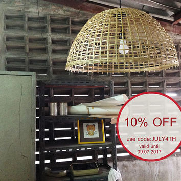 Bamboo basket pendant light,bamboo woven shade hanging lamp 60cm