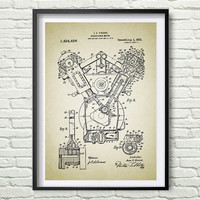 Hydrocarbon Motor 1922 Patent Art Illustration, White, black, gray, blue Printable INSTANT DOWNLOAD - Get 5 Colors Background *9*