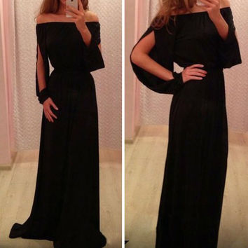 Black Long Sleeve Chiffon Maxi Dress