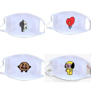 BTS BT21 Bangtan Boys Kpop Style Face Mask The Same Paragraph Cartoon Mouth Mask Winter Warm Face Mask Outdoor Accessories
