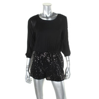 Alythea Womens Crepe Sequined Romper