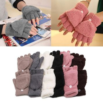Unisex Coral Cashmere Knitted Fingerless Winter Gloves Soft Warm Mittens Gloves