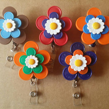 Red, Blue, Orange or Brown Medication Vial Cap with Flower Accent ID Badge Holder
