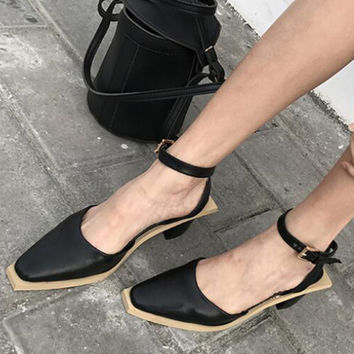 Black Pointed Top Contrast Sole Ankle-Strap Heeled Shoes