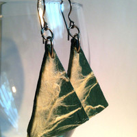 Triangle Green White Hanji Paper Dangle Earrings OOAK Handmade Hypoallergenic hooks Lightweight