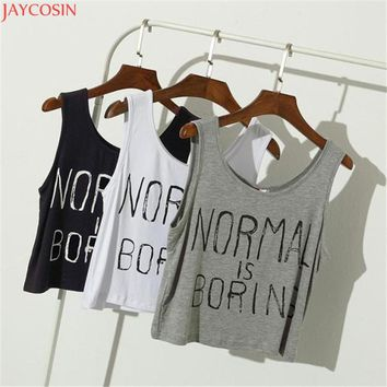 JOYCOSIN Fashion blusa Women  cropped feminino Women Summer Tank Tops NORMAL IS BORING Letter Print Sleeveless Vest Blouse