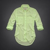 NWT Hollister Women's Classic Shirt Size S Small Solana Beach Sheer Green.