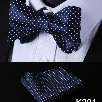 Polka Dot Mens Bow Tie Silk Wedding Self Bowtie handkerchief Set #K2 Pocket Square Classic Party Wedding