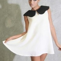 Ivory Tailored Mini Dress with Black Collar