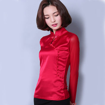 Retro fashionWomens tops long sleeved blouse shirt casual lady solid color mesh shirt S-3XL large size