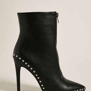 Studded Zip-Front Ankle Booties