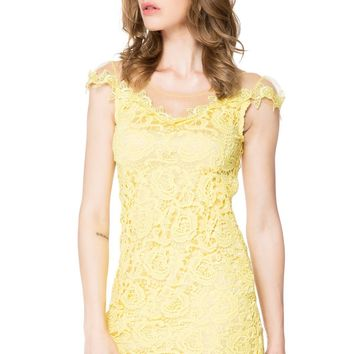 Sexy  Mesh Splicing Scoop Neck Short Sleeve Yellow Lace Dress