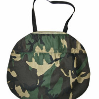 Vintage Army Camouflage Canvas Bag with Velcro Pocket