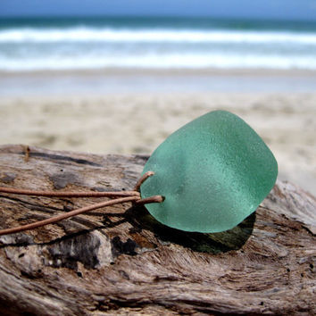 Hawaiian Gorgeous & Rare Bright Aqua Antique Bottle Bottom Beach Glass on Genuine India Leather LONG Necklace