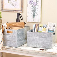 Set of 2 Galvanized Metal Storage Bins Nesting Rustic Country Farmhouse Decor