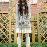 Wholesale Korean Hooded Giraffe Long Coat Gray