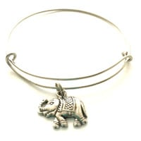 Elephant Charm Bracelet - Elephant Charm - Adjustable Bangle Bracelet - Alex and Ani Inspired - Silver Jewelry - Stacking Bangles