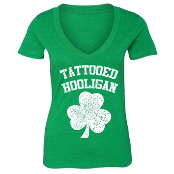 XtraFly Apparel Women's Tattooed Hooligan St. Patrick's Irish V-neck Short Sleeve T-shirt
