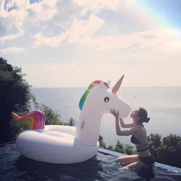 MOWIN 200CM Unicorn Swimming Float Inflatable Unicorn Swimming Float Unicorn Pool Float Tube Kid Swimming Ring Summer Water Toy