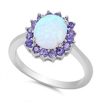 White Opal & Amethyst .925 Sterling Silver Ring