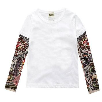 Children Clothing Boys Long Sleeve T Shirt Cool Tattoo Shoes Printed T-shirts Big Girls Summer Kids Tops