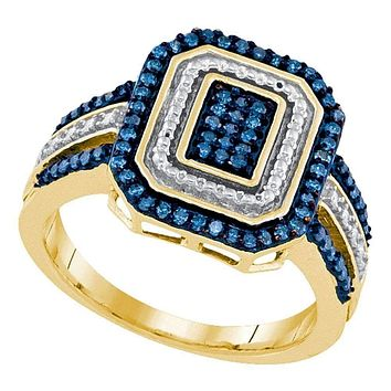 10kt Yellow Gold Womens Round Blue Color Enhanced Diamond Rectangle Cluster Ring 1-3 Cttw