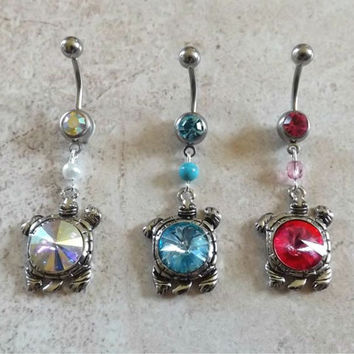 Turtle Belly Ring with Gem Center and Matching Bead Body Jewelry