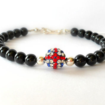 Union Jack Pave Bead Bracelet with Black Riverstone and Karen Hill Tribe Silver