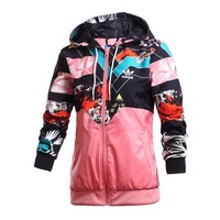 ADIDAS Women Fashion Print Hooded Cardigan Jacket Coat Windbreaker