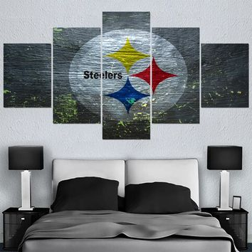 Modern Home Decor Picture Pittsburgh Steelers 5 Panel Canvas Painting Calligraphy Sport Ball Team Poster Wall Art Paintings