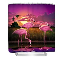Flamingoes Flamingos Tropical Sunset landscape florida everglades large hot pink purple print Shower Curtain for Sale by Walt Curlee
