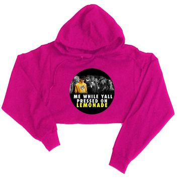 While Ya'll Pressed On Lemonade Cropped Hooded Sweatshirt