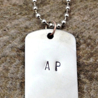 Personalized Aluminum Dog Tag Necklace - Initials and Date; Hand Stamped, Ball Chain