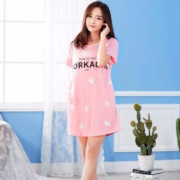 CREYCI7 2017 Cotton Nightgowns Women Short Sleeve Home Dress Nightwear Girls Cute Cartoon Sleepwear Night Gown Nightdress Female Summer
