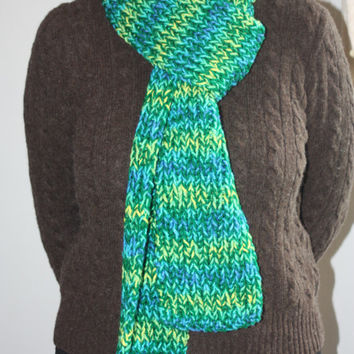Blue, Green, Aqua Zig Zag Stripe Knit Scarf - Cozy Scarf - Bright Scarf - Thick Scarf - Warm Scarf