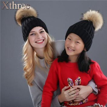 VONG2W Xthree real mink fur pom poms knitted hat ball beanies winter hat for women girl 's hat Skullies brand new thick female cap