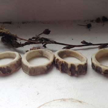 Thin deer antler unique statement rings- size 6