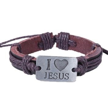 Alloy Bracelet Leather Bracelet Brown